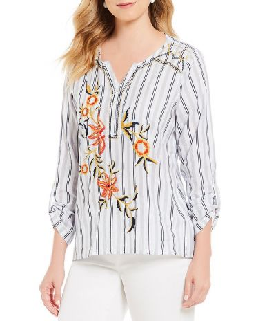 Multiples Plus Size Blue Striped Flower Embroidered Shirt M38413TW