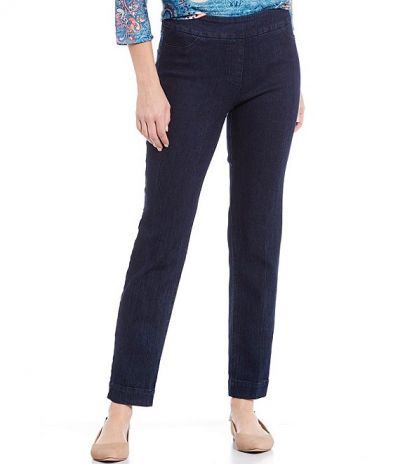 Multiples Plus Size Denim Wide Band Pull On Ankle Pant M2623PA