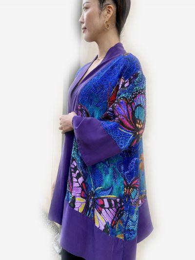 Citron Plus Size Silk Butterflies Kimono 0917SB-C