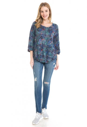 Cubism Plus Size Midnight Crinkle One Pocket Top 104-13713
