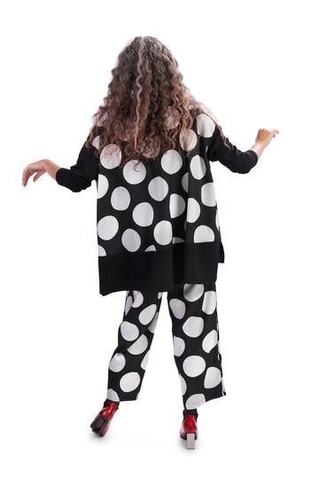Alembika Black/White Polka Dot Pullover Tunic AT206B