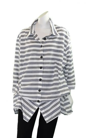 Dress to Kill One Size Grey/Navy Striped Shirt 124E