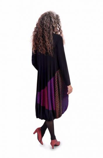 Alembika Black/Multi Half Button Balloon Dress TD803L