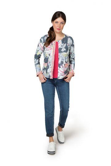 Doris Streich Plus Size Multi Floral 2 Pocket Front Jacket 322-147-98