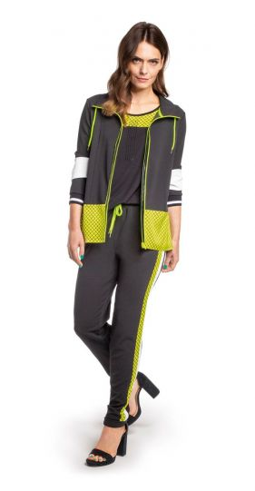 Doris Streich Plus Size Black Lime Zip Up Jacket 321-116-20