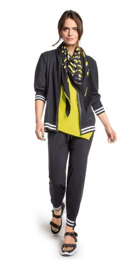 Doris Streich Plus Size Black Striped Zip Up Jacket 305-115-91