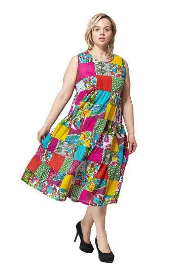 La Cera Plus Size Multi Patch Work Sleeveless Dress 2018X-21