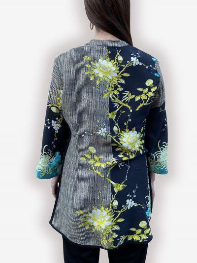 Citron Plus Size Black/Yellow Floral Silk Blend Shirt 2030PSM-C