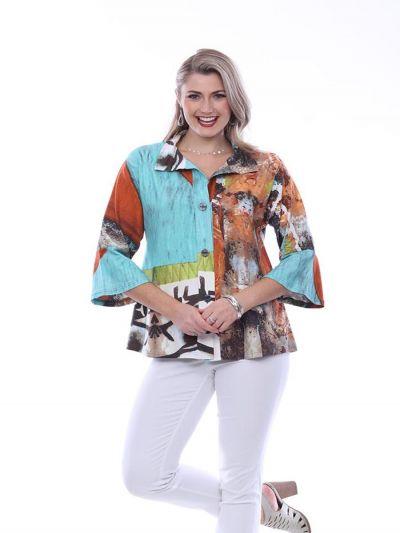Parsley & Sage Plus Size Multi Swing Shirt 20T19G11