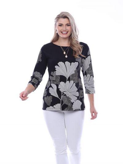 Parsley & Sage Plus Size Black/Tan Leaf Top 20T70C2