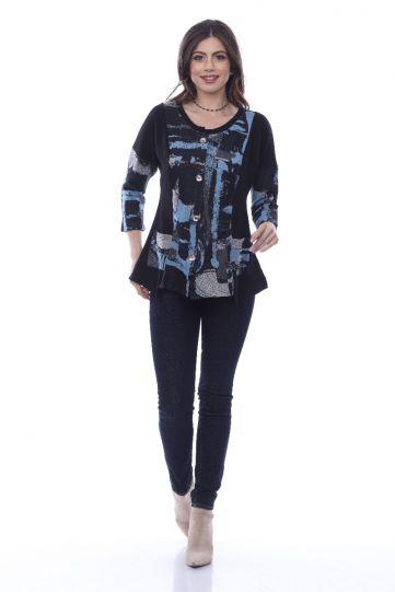 Parsley & Sage Plus Size Black/Blues Bonnie Button Pocket Top 20W219C17P