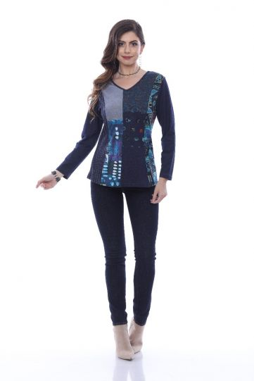 Parsley & Sage Plus Size Multi Blues Sheena V-Neck Top 20W233C5P