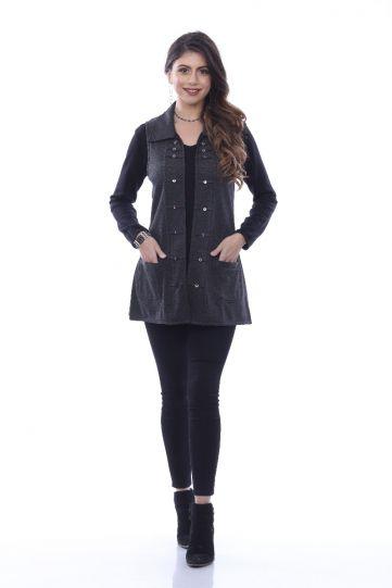 Parsley & Sage Plus Size Charcoal Marlow Rev Vest 20W243F3P