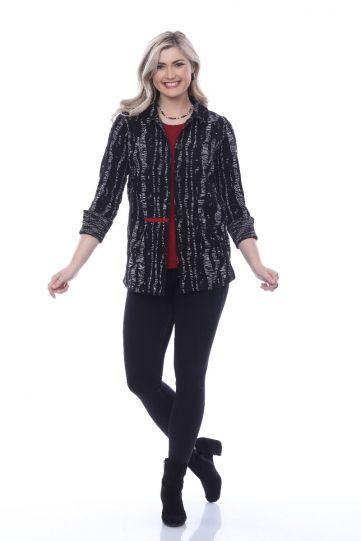 Parsley & Sage Plus Size Black/Grey Kendra Rev Shirt Jacket 20W247G3P