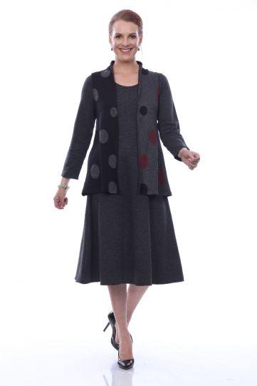 Parsley & Sage Plus Size Charcoal Dot Whimsy Vest 20W248FP
