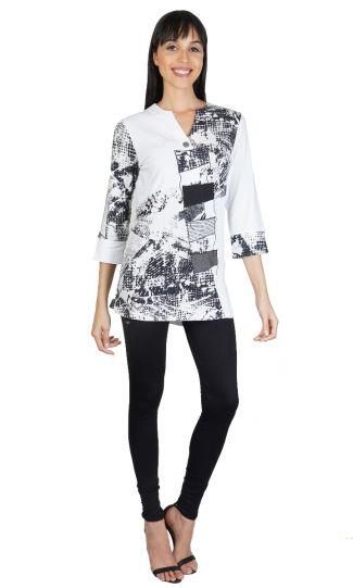 Parsley & Sage Plus Size Black/White Tamra Fancy Tunic 21T11T20P