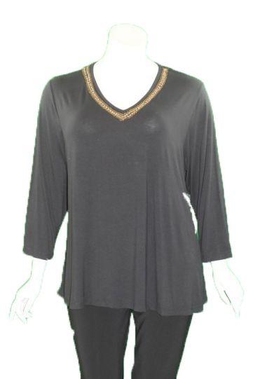 Caite Plus Size Grey Salma Embroidered Tee CTC0364