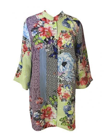 Citron Plus Size Sage Garden Rose Shirt 2265SGR-C