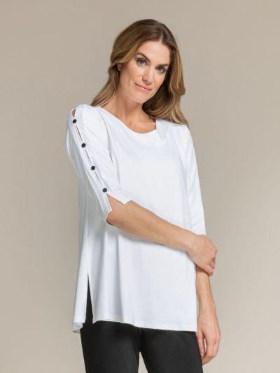 Sympli Plus Size White Icon Tunic 23152-2