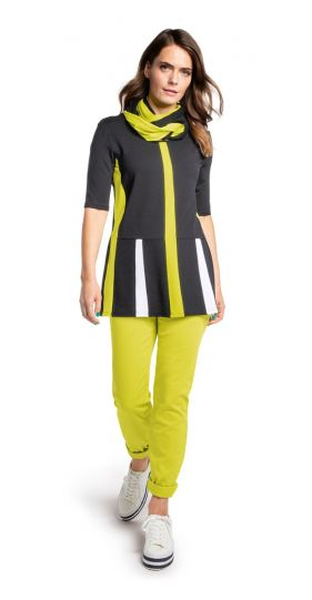 Doris Streich Plus Size Black Lime Striped Tunic 470-270-20