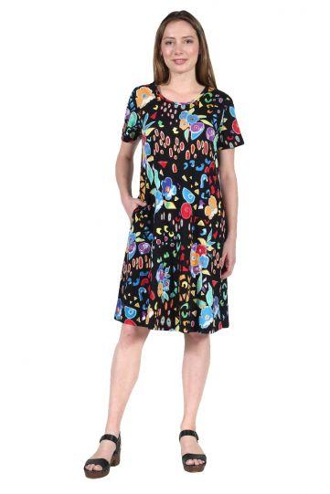 La Cera Plus Size Multi Floral Cotton Dress 2522XL-21