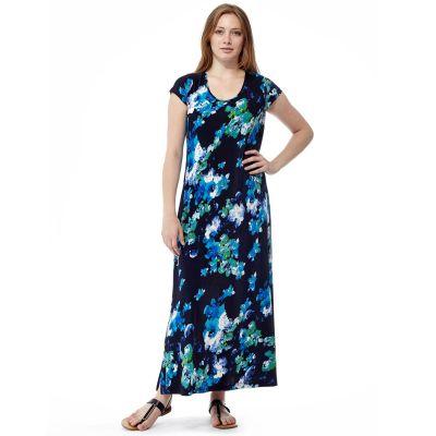 La Cera Plus Size Blue Floral Short Sleeve Dress 2557X-21