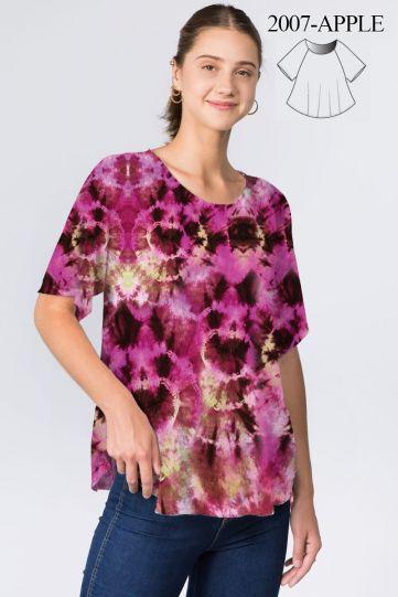 Et' Lois Plus Size Pink Tye Dye Apple Top C2007W-263