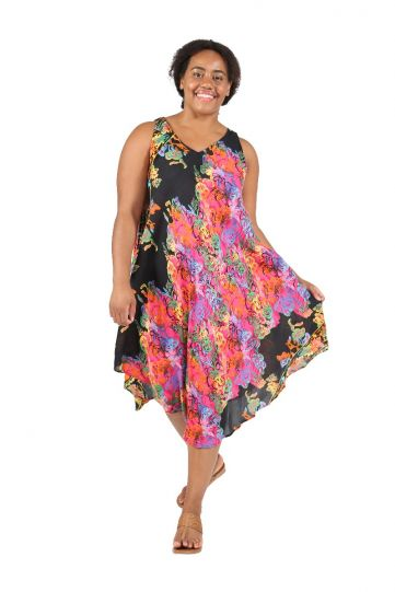 La Cera Plus Size Black/Pink Paisley Sleeveless Dress 2714XL-21