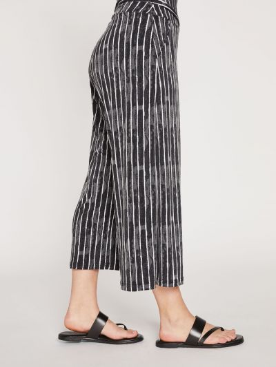 Sympli Black/White Striped Patterned Ladys Wide Leg Trouser 27204CB