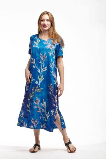 La Cera Plus Size Blue/Pink/Green Leaf Dress 2767XL-21