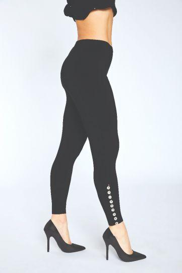Sympli Black Diva Legging Metal Buttons 2771A