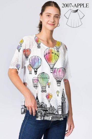 Et' Lois Plus Size Hot Air Balloon Apple Top C2007W-311