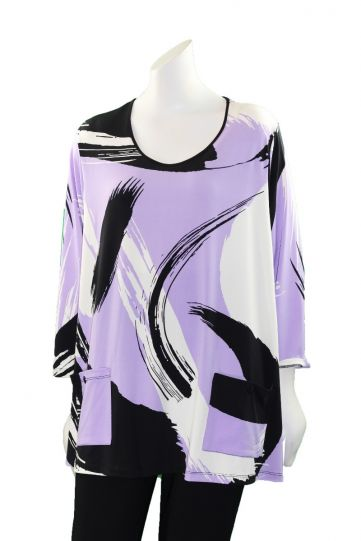 Comfy Plus Size Orchid Printed 2 Pocket Tunic SK178