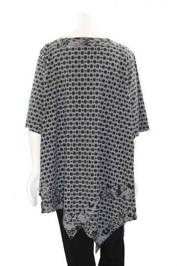 Prisa Grey/Black Polka Dot Asym Hem Tunic 3300C