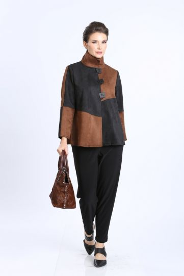 IC Collection Black/Brown Faux Suede Jacket 3315J