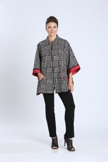 IC Collection Black/White/Red Check Zip Front Poncho 3860J