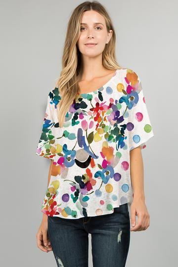 Et' Lois Plus Size Floral Dot Apple Top C2007W-410