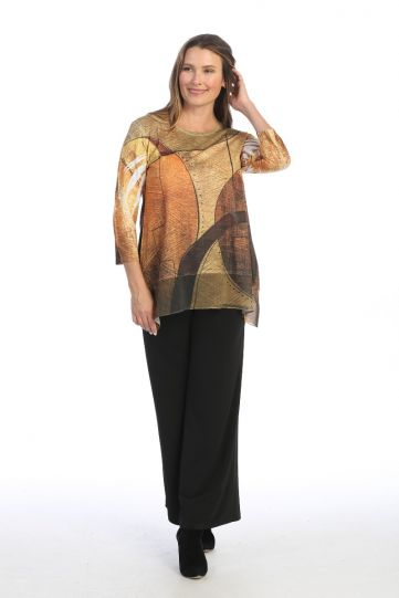 Jess & Jane Plus Size Tan/Yellow/Brown Maya Tunic 63-1548X