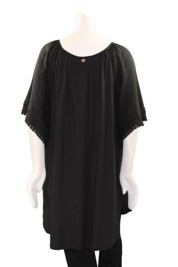 Mat Fashion Plus Size Black Ruffle/Fringe Sleeve Top 711-1121