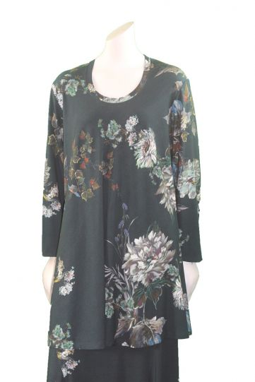Q'Neel Plus Size Teal Floral Pullover Long Tunic 83091-8400