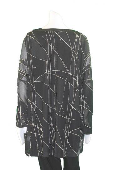 Q'Neel Black/Cream Plus Size Sheer Panel Tunic 83125-8392