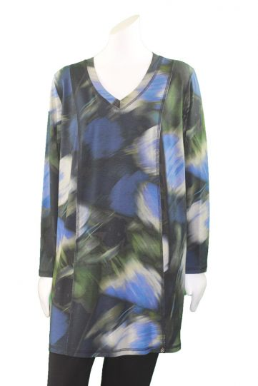 Q'Neel Plus Size Blue Multi Pullover Tunic 8371-8375