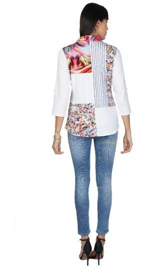 Parsley & Sage Plus Size White/Multi Miranda Shirt 21T04GP