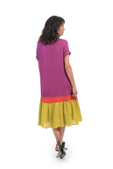 Alembika Multi Linen Color Block Maxi Dress SD203M