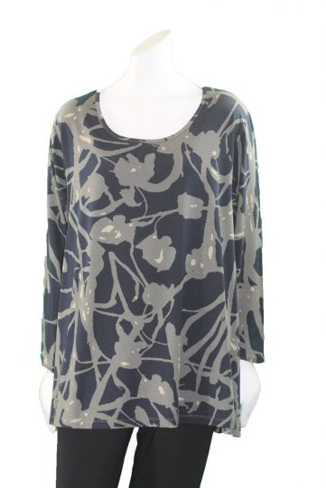 Two Danes Plus Size Navy/Olive Print Tee 95552