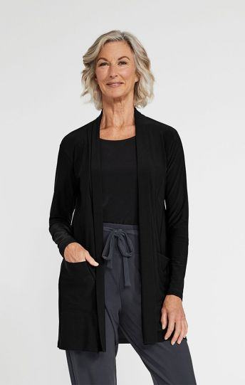 Sympli Black Go To Cardigan Long 25111