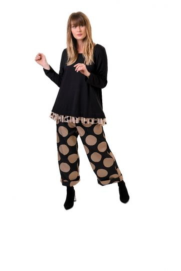 Alembika Black/Tan Dot Pullover Tunic ET122T