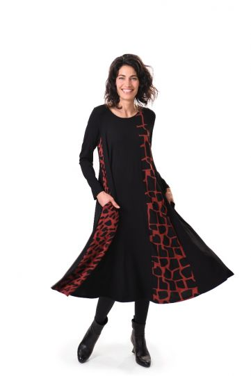 Alembika Black/Brick Zia Swing Dress AD617B
