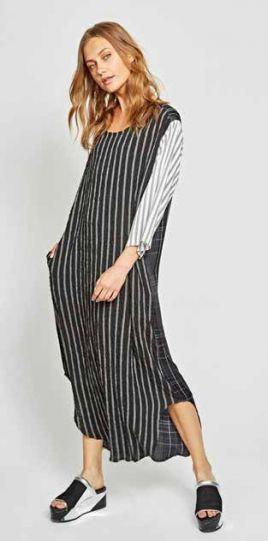 Alembika Black/White Striped Pullover Dress D809S