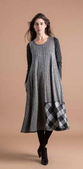 Alembika Grey Plaid Pullover Dress AD422S